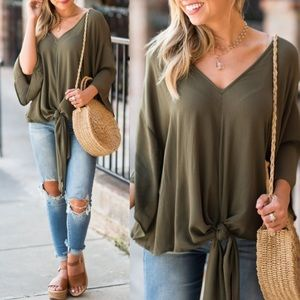 Tops - 🖤Host Pick🖤 Tie Front Blouse in Olive